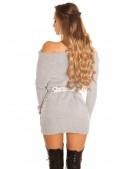 Серый свитер-туника на одно плечо KouCla (111235) - 3, 8