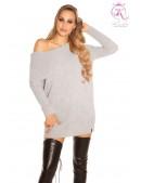 Серый свитер-туника на одно плечо KouCla (111235) - foto