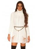 """Белое """"рваное"""" платье-свитер KC5009 (165009) - 3, 8"""