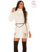 """Белое """"рваное"""" платье-свитер KC5009 (165009) - foto"""
