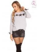 Серый женский свитер со шнуровкой KouCla (111206) - foto