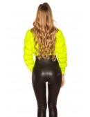 Укороченный вязаный пуловер (неоновый желтый) (111242) - 4, 10