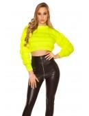 Укороченный вязаный пуловер (неоновый желтый) (111242) - 3, 8