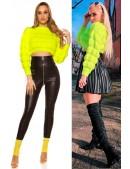 Укороченный вязаный пуловер (неоновый желтый) (111242) - foto