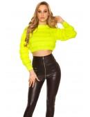 Укороченный вязаный пуловер (неоновый желтый) (111242) - цена, 4
