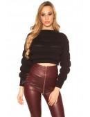 Укороченный женский черный пуловер MF1246 (111246) - оригинальная одежда, 2