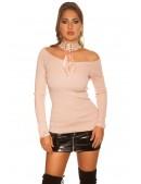 Джемпер с чокером (античный розовый) (111239) - оригинальная одежда, 2