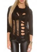 Рваный черный пуловер KouCla (111253) - 4, 10