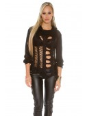 Рваный черный пуловер KouCla (111253) - материал, 6