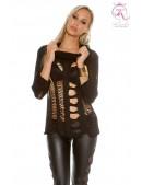 Рваный черный пуловер KouCla (111253) - foto