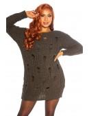 Длинный свитер-платье цвета хаки KouCla (105377) - цена, 4