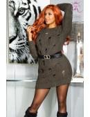 Длинный свитер-платье цвета хаки KouCla (105377) - foto