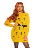 Длинный свитер-платье горчичного цвета KC5379 (105379) - 3, 8