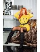 Длинный свитер-платье горчичного цвета KC5379 (105379) - оригинальная одежда, 2