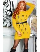 Длинный свитер-платье горчичного цвета KC5379 (105379) - foto