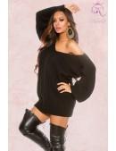 Черный свитер-платье на одно плечо KC1217 (111217) - foto