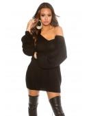 Черный свитер-платье на одно плечо KC1217 (111217) - материал, 6