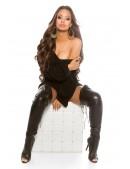 Черный свитер-платье на одно плечо KC1217 (111217) - 3, 8