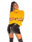 Женский джемпер с чокером и шнуровками на рукавах (111237) - цена, 4