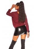 Джемпер с чокером и шнуровкой бордового цвета KouCla (111256) - 3, 8