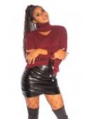 Джемпер с чокером и шнуровкой бордового цвета KouCla (111256) - оригинальная одежда, 2