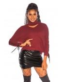 Джемпер с чокером и шнуровкой бордового цвета KouCla (111256) - цена, 4