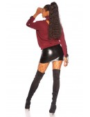 Джемпер с чокером и шнуровкой бордового цвета KouCla (111256) - 4, 10