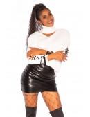 Белый женский джемпер с чокером KC1259 (111259) - материал, 6