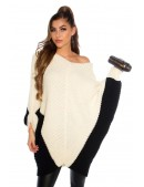Двухцветный свитер-платье на одно плечо KouCla (111260) - 3, 8