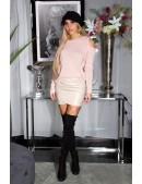 Вязаный женский джемпер Cold-Shoulder Pink (111270) - цена, 4