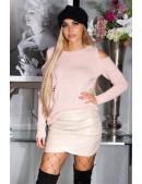Вязаный женский джемпер Cold-Shoulder Pink (111270) - foto