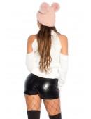 Белая водолазка-свитер с открытыми плечами KC1027 (141027) - 4, 10