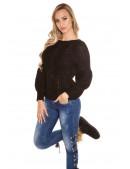 Черный фактурный свитер с рукавом-фонариком KC1277 (111277) - оригинальная одежда, 2