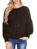 Черный фактурный свитер с рукавом-фонариком KC1277 (111277) - цена, 4
