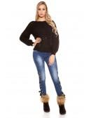 Черный фактурный свитер с рукавом-фонариком KC1277 (111277) - 3, 8