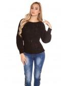 Черный фактурный свитер с рукавом-фонариком KC1277 (111277) - 4, 10