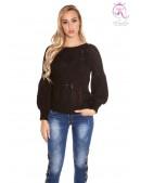 Черный фактурный свитер с рукавом-фонариком KC1277 (111277) - foto