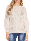 Вязаный женский свитер KC1284-Beige (111284) - материал, 6