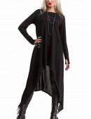 Длинный черный свитер с рукавами-митенками (111185) - цена, 4