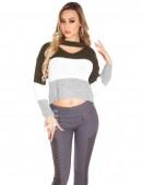 Женский трехцветный пуловер K194 (111194) - цена, 4