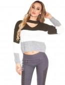 Женский трехцветный пуловер K194 (111194) - 4, 10