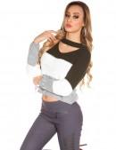 Женский трехцветный пуловер K194 (111194) - foto