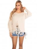 Рваный бежевый свитер с молниями (111195) - цена, 4