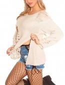 Рваный бежевый свитер с молниями (111195) - оригинальная одежда, 2