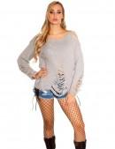 Рваный серый свитер с молниями (111197) - цена, 4