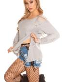 Рваный серый свитер с молниями (111197) - оригинальная одежда, 2