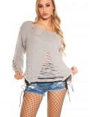 Рваный серый свитер с молниями (111197) - foto