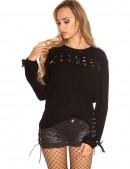Женский свитер со шнуровками спереди и сзади (111204) - foto
