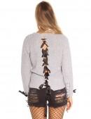 Серый женский свитер со шнуровкой и лентами (111206) - 3, 8