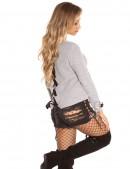 Серый женский свитер со шнуровкой и лентами (111206) - оригинальная одежда, 2
